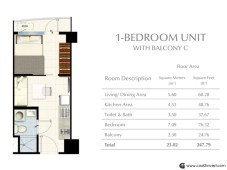 South Residences - 1 Bedroom unit with Balcony C