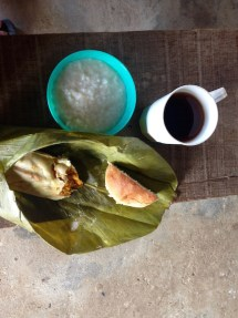 tamale, rice lab, bread, coffee