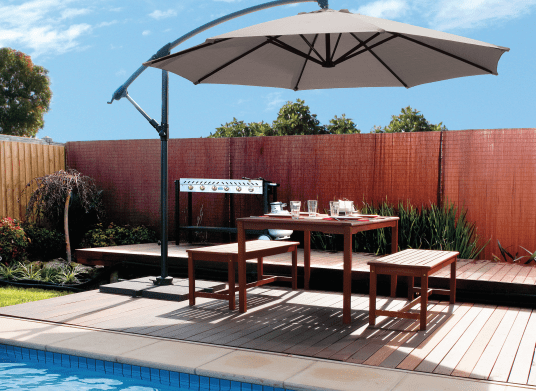 patio and cantilever umbrellas