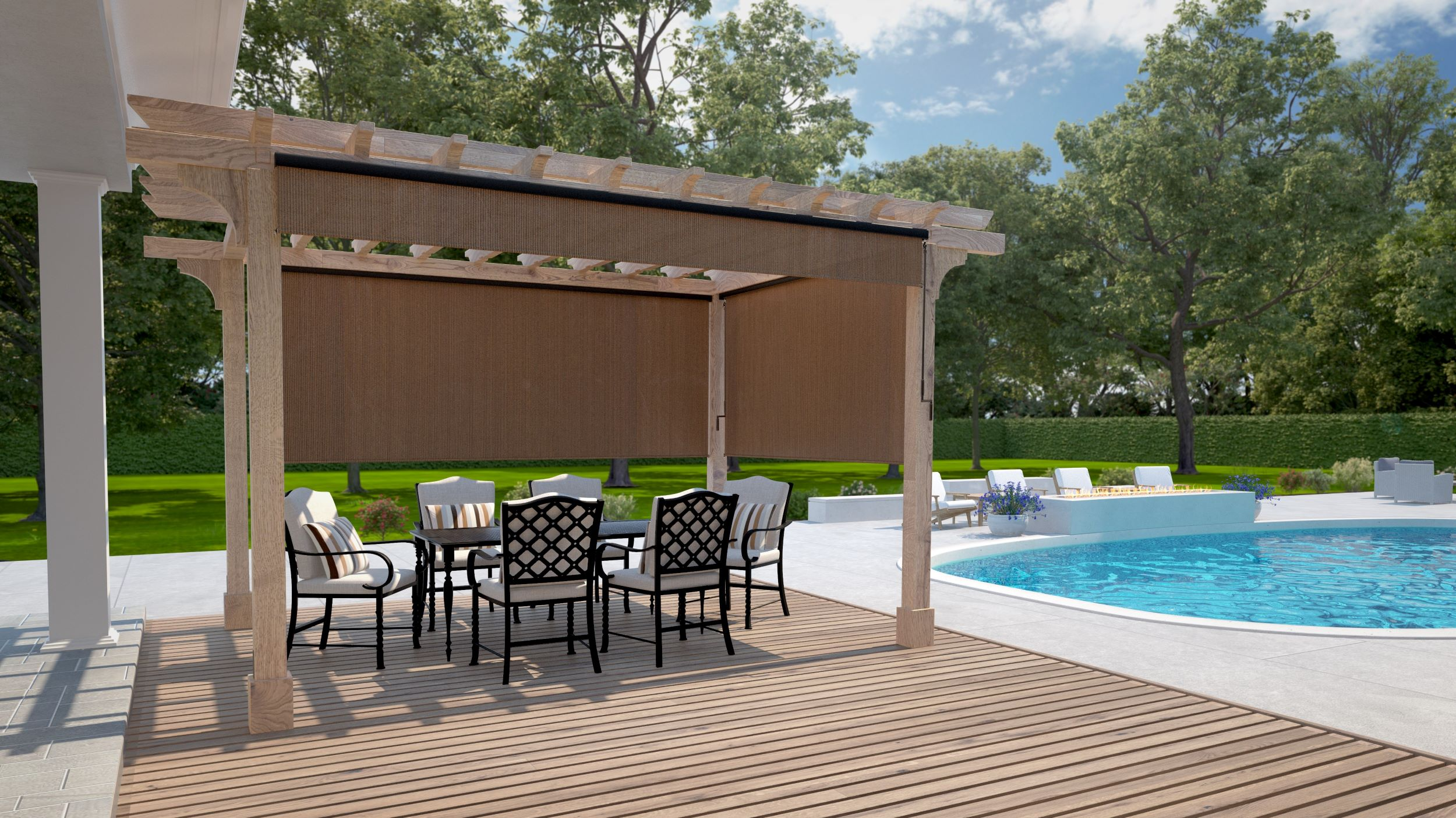 wand operated outdoor roller shades