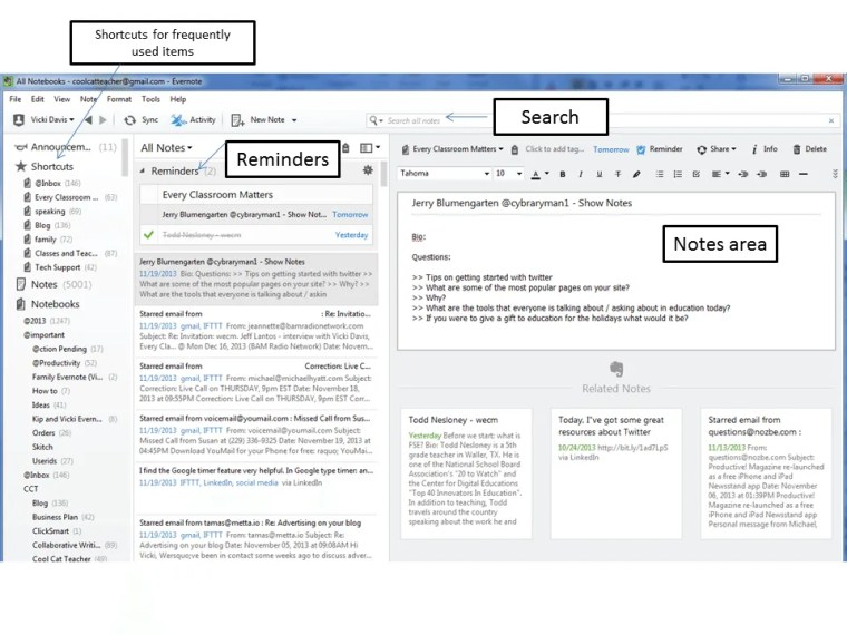 Labeled evernote screen.