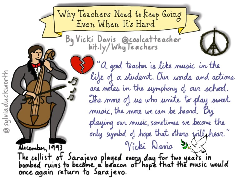 """Sketchnote about """"Why Teachers Need to Keep Going Even When It's Hard"""" by Sylvia Duckworth"""