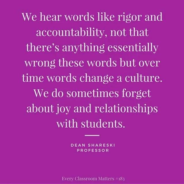 student feedback - we need relationships with students