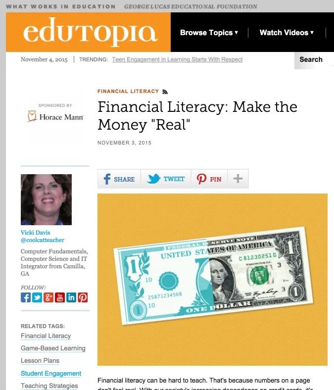 Financial literacy can be taught. A screenshot of Vicki Davis' full blog post on Edutopia.