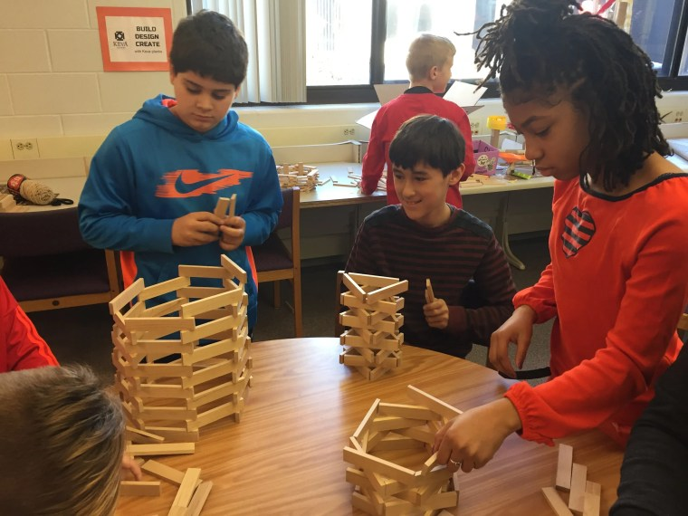 Keva plank challenges are a popular happening n Chad Lehman's library maker space.