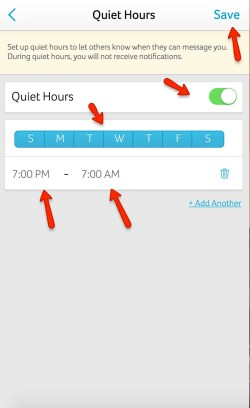 In your account settings, you can go to notifications and click Quiet hours. This sets the times you do not want to receive email or push notifications. The participants will also see you're in quiet hours, so they'll know you wont respond then.