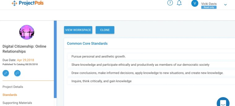Project Pals Common Core Standards Alignment