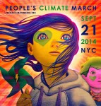"""My poster focuses on a young girl holding a pinwheel, which alludes to wind turbines, while the sun behind her alludes to solar energy … She looks up from the precipice, wearing on her face the symbol of the march: a green heart,"" Jean said about his design."