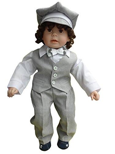 Taufanzug für Jungen – grau-weiß -