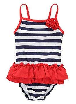 CharmLeaks – Baby Mädchen Badebekleidung Badeanzug – rot /dunkelblau /weiß