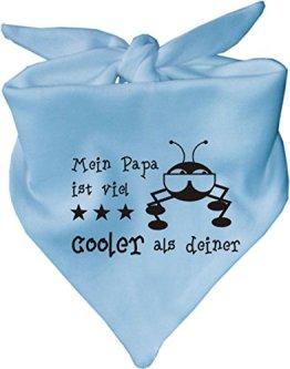 """KLEINER FRATZ – Baby Halstuch """"Mein Papa ist viel cooler als deiner"""" – hellblau"""