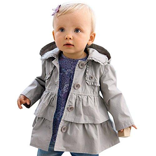 Tiaobug  – Baby Mädchen Jacke Trenchcoat – grau