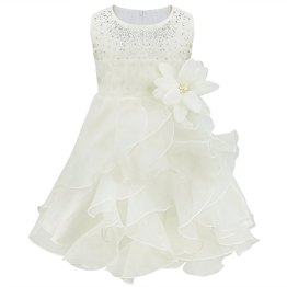 """Tiaobug – Baby Mädchen Kleid """"Prinzessin"""" Hochzeit – weiß"""