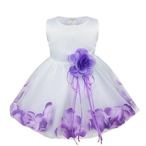 YiZYiF – Baby Mädchen Kleid mit Blütenblättern – lila/weiß