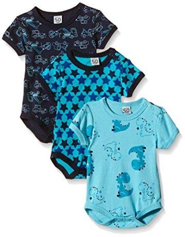 Care – Baby Jungen Body-Schlafanzug Kurzarm – blau, 3er Pack -