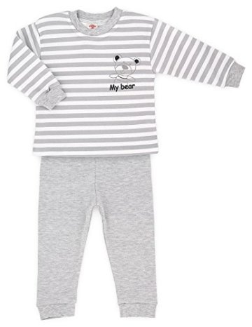 Makoma – Baby Schlafanzug Pyjama Set Hose + Langarmshirt – grau -