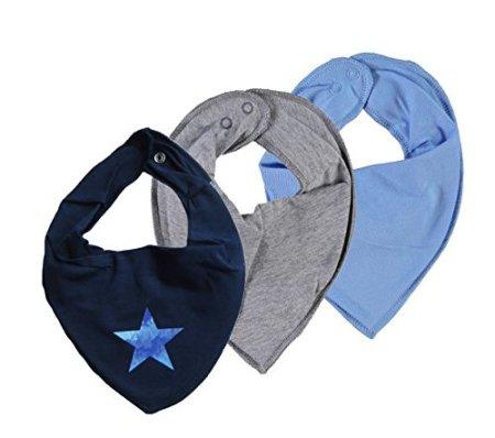 Name IT –  Baby Halstuch Dreieckstuch – Nityasim Stern/uni blau grau, 3er Set -
