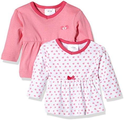size 40 19553 636d6 Twins – Baby Mädchen Langarmshirts – weiss/rosé, 2er Pack