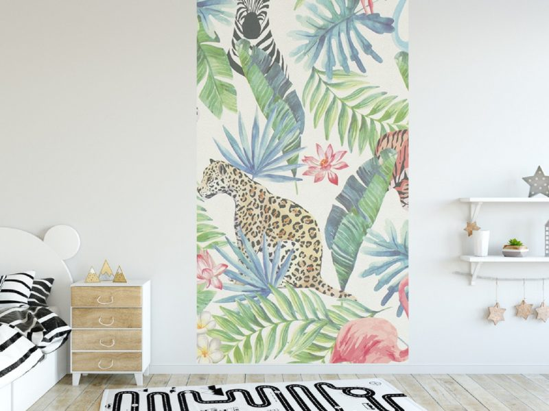 Kinderkamer Jungle Behang : Behang jungle interesting bladeren en ananas dichte jungle