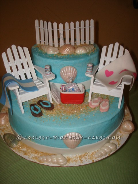 Coolest Couples Beach Themed Shower Cake