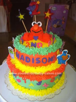 Coolest Homemade 2 Tiered Elmo Birthday Cake With Fondant