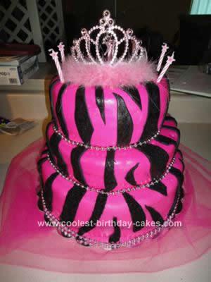 Coolest Pink Zebra Print Birthday Cake