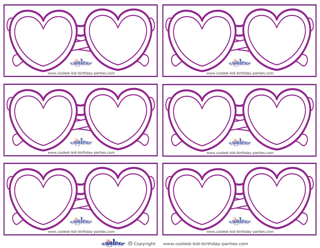 Blank Printable Heart Shaped Glasses Thank You Cards