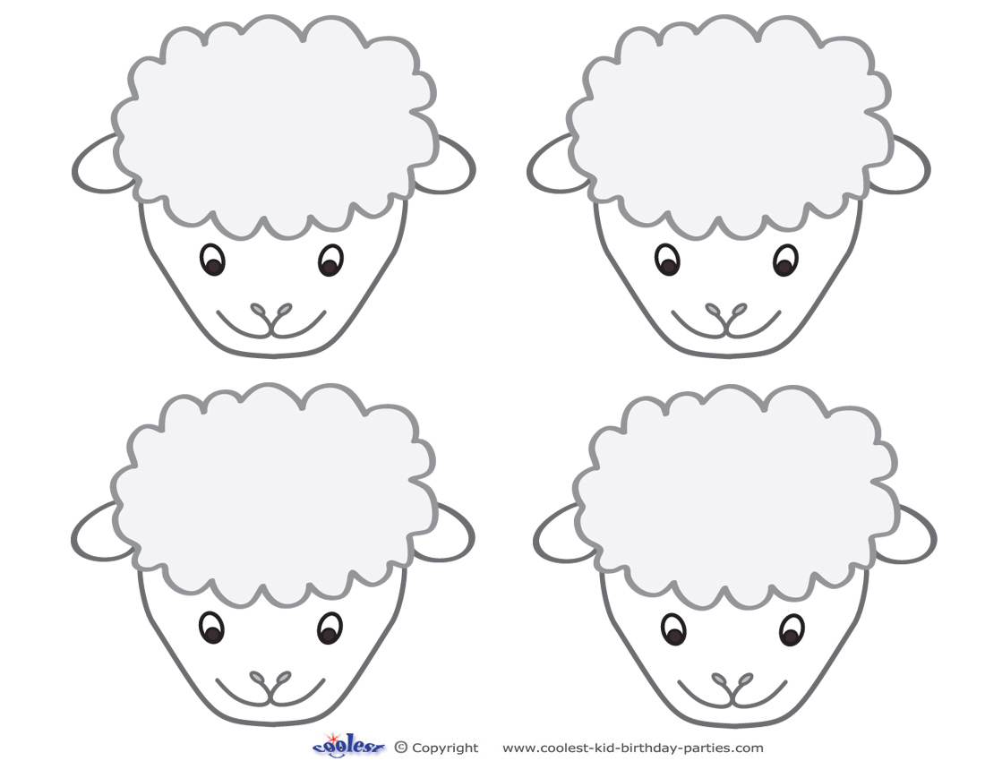 Blank Printable Sheep Face Thank You Cards