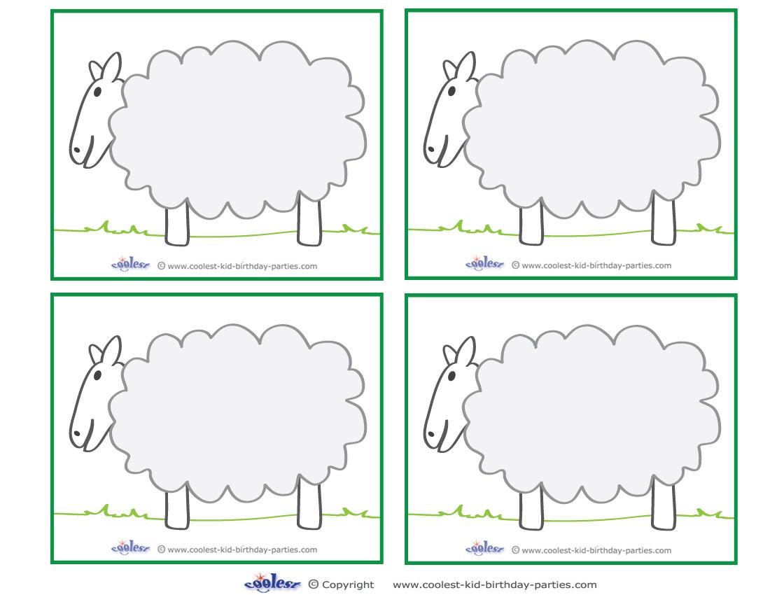 Blank Printable Sheep Thank You Cards