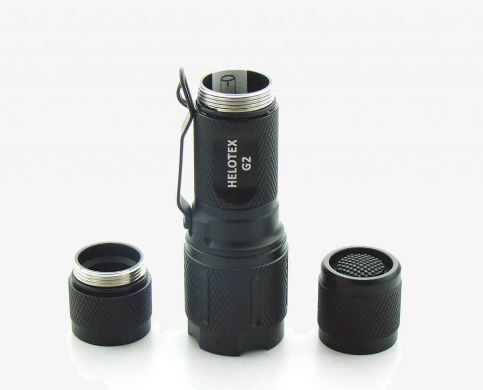 Parts of the Helotex G2 Tactical Flashlight
