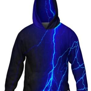 Blue lightning hoodie mens