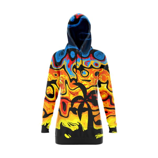 Tropical Abstract Hoodie Dress