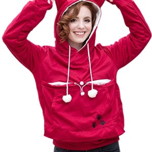 Pink hoodie with pet pouch and ears