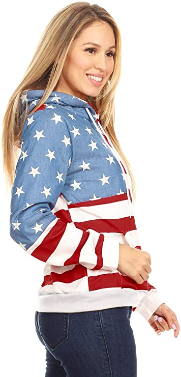 USA Flag Hoodie for Women Side View