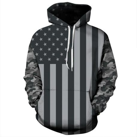 Grey Camo American Flag Hoodie