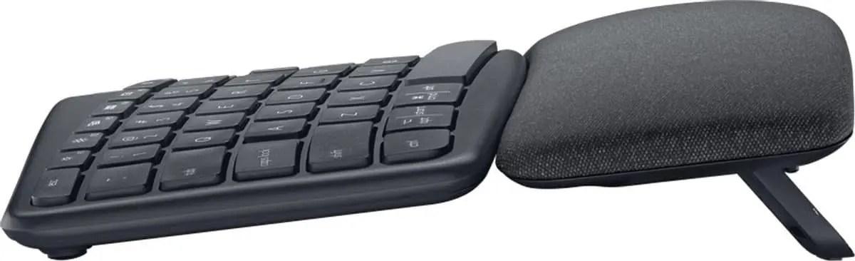 logitech K860 ergo keyboard zij aanzicht
