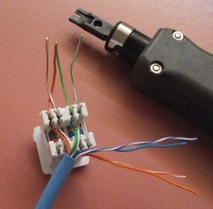 Terminating Cat5e Cable on a Jack (Wall Mount or Patch Panel)