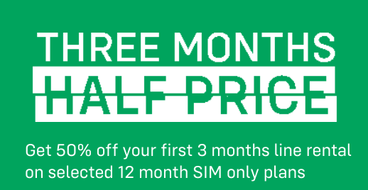 iD Mobile   3 Months half price deal