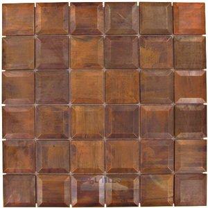 illusion glass tile metals 2 x 2 beveled mosaic tile in antique copper