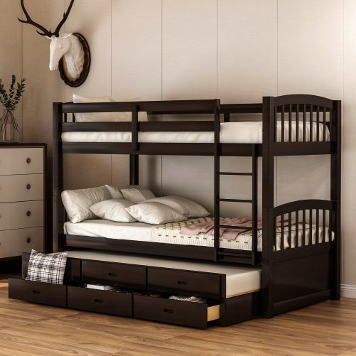 Twin over twin wood bunk bed with trundle and drawers, espresso 3