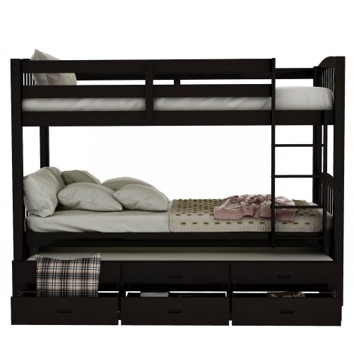 Twin over twin wood bunk bed with trundle and drawers, espresso 8