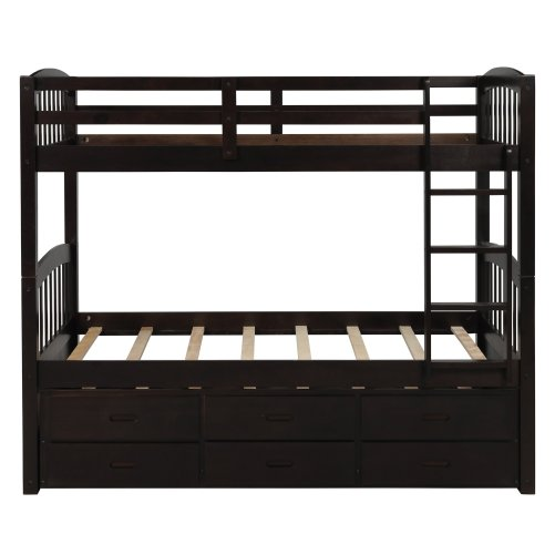 Twin over twin wood bunk bed with trundle and drawers, espresso 6
