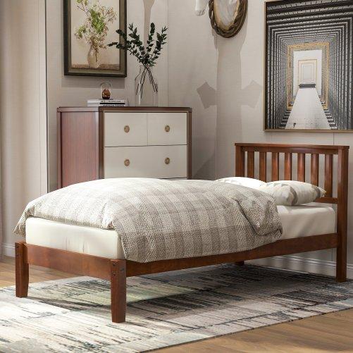 Wood Platform Bed with Headboard/Wood Slat Support,Twin 13
