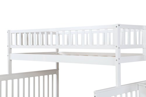 Twin over Full Stairway Bunk Bed with Storage 7
