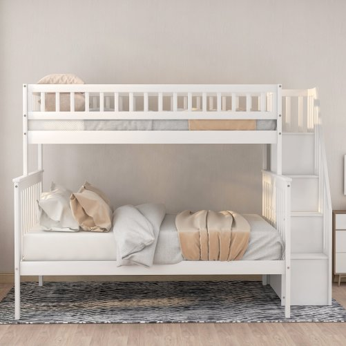 Twin over Full Stairway Bunk Bed with Storage 3