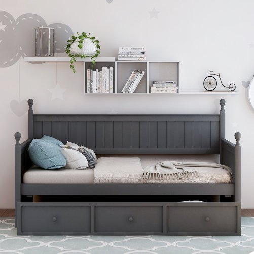 Wood Daybed with Three Drawers ,Twin Size 2