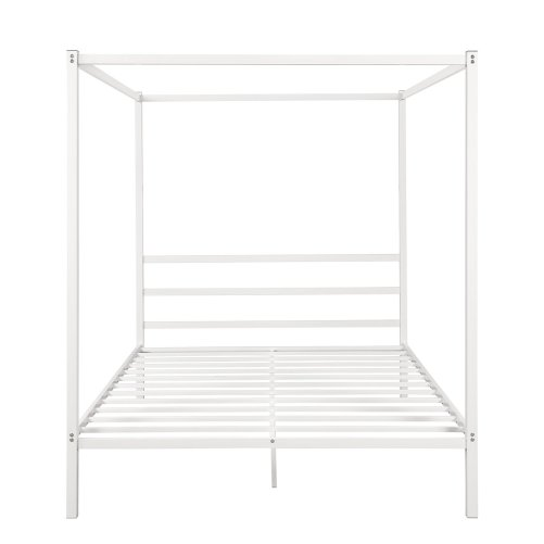 Metal Framed Canopy Platform Bed with Built-in Headboard 5
