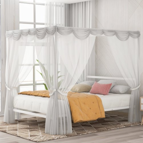 Metal Framed Canopy Platform Bed with Built-in Headboard 1