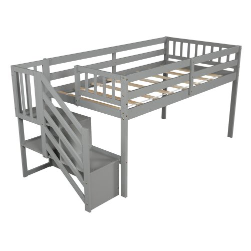 Floor Loft Bed, Ladder with Storage, Twin Size 14