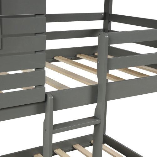 Wood Twin Over Twin Bunk/Loft Bed with Roof 2